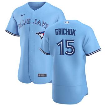 Men's Toronto Blue Jays #15 Randal Grichuk Light Blue Alternate 2020 Authentic Player Baseball Jersey