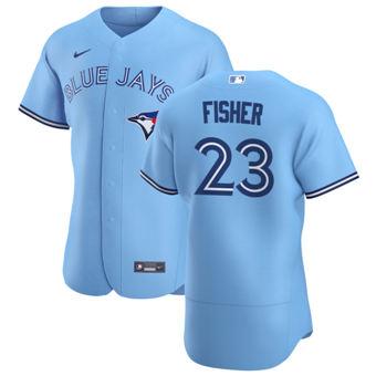 Men's Toronto Blue Jays #23 Derek Fisher Light Blue Alternate 2020 Authentic Player Baseball Jersey