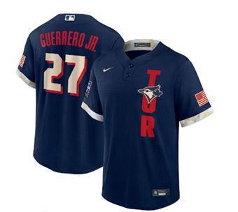 Men's Toronto Blue Jays #27 Vladimir Guerrero Jr. 2021 Navy All-Star Cool Base Stitched Baseball Jersey
