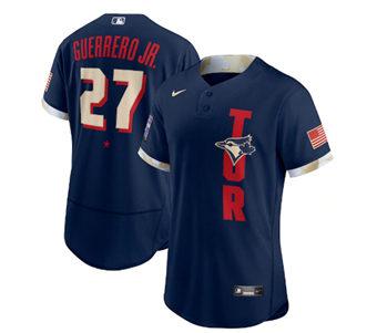 Men's Toronto Blue Jays #27 Vladimir Guerrero Jr. 2021 Navy All-Star Flex Base Stitched Baseball Jersey