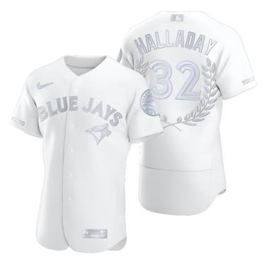 Men's Toronto Blue Jays #32 Roy Halladay Platinum Baseball MVP Limited Player Edition Jersey