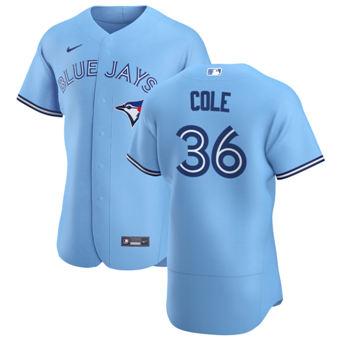 Men's Toronto Blue Jays #36 A.J. Cole Light Blue Alternate 2020 Authentic Player Baseball Jersey