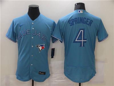 Men's Toronto Blue Jays #4 George Springer 2020 Blue Flex Base Stitched Baseball Jersey