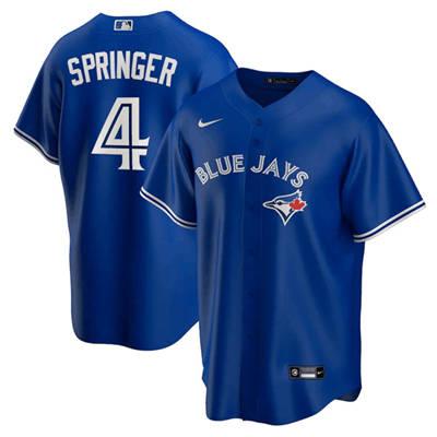Men's Toronto Blue Jays #4 George Springer Blue Cool Base Stitched Baseball Jersey