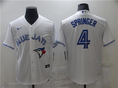 Men's Toronto Blue Jays #4 George Springer White Cool Base Stitched Baseball Jersey