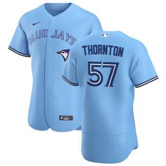 Men's Toronto Blue Jays #57 Trent Thornton Light Blue Alternate 2020 Authentic Player Baseball Jersey