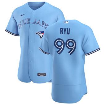 Men's Toronto Blue Jays #99 Hyun Jin Ryu Light Blue Alternate 2020 Authentic Player Baseball Jersey