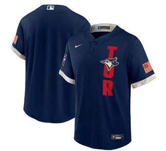Men's Toronto Blue Jays Blank 2021 Navy All-Star Cool Base Stitched Baseball Jersey