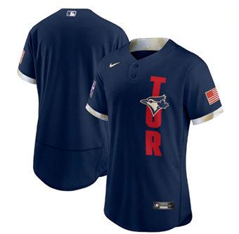 Men's Toronto Blue Jays Blank 2021 Navy All-Star Flex Base Stitched Baseball Jersey