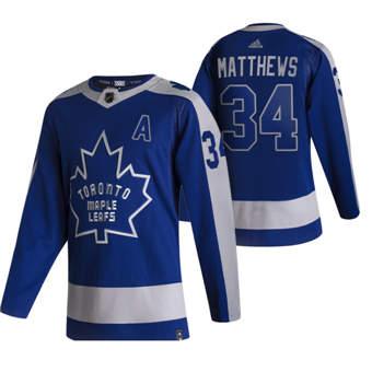 Men's Toronto Maple Leafs #34 Auston Matthews Blue 2020-21 Reverse Retro Alternate Hockey Jersey