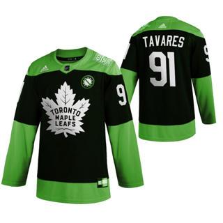Men's Toronto Maple Leafs #91 John Tavares Green Hockey Fight nCoV Limited Hockey Jersey