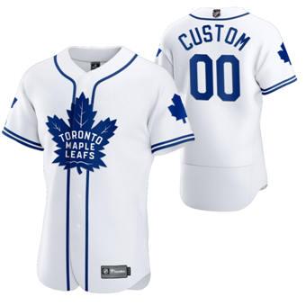 Men's Toronto Maple Leafs Custom 2020 Hockey x Baseball Crossover Edition Baseball Jersey White