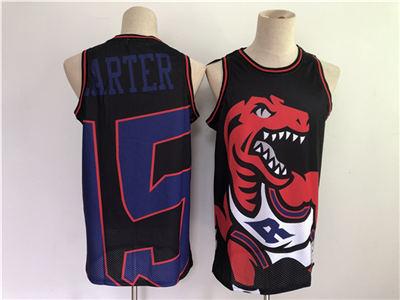 Men's Toronto Raptors #15 Vince Carter Black Big Face Throwback Stitched Basketball Jersey
