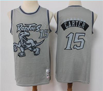 Men's Toronto Raptors #15 Vince Carter Grey Throwback Stitched Basketball Jersey