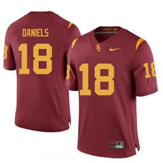 Men's USC Trojans #18 J.T. Daniels Scarlet 2019 College Football Jersey