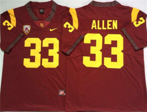 Men's USC Trojans Red #33 ALLEN Stitched College Football Jersey