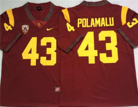 Men's USC Trojans Red #43 POLAMALU Stitched College Football Jersey 1
