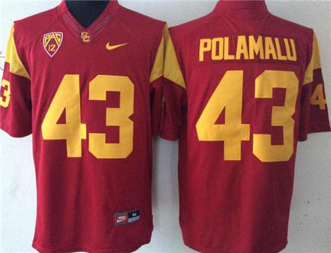 Men's USC Trojans Red #43 POLAMALU Stitched College Football Jersey 2