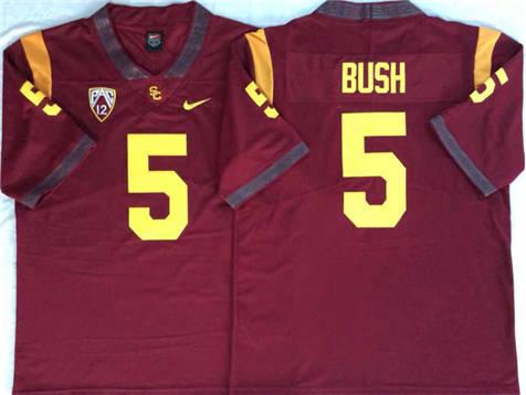 Men's USC Trojans Red #5 BUSH Stitched College Football Jersey
