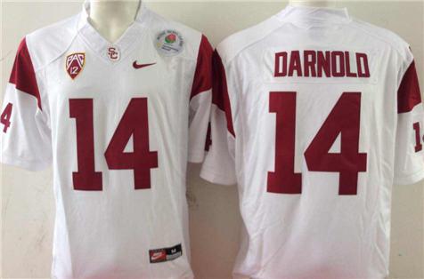 Men's USC Trojans White #14 DARNOLD Stitched College Football Jersey