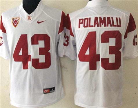 Men's USC Trojans White #43 POLAMALU Stitched College Football Jersey 1