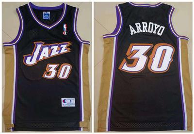 Men's Utah Jazz #30 Carlos Arroyo Black Stitched Basketball Jersey