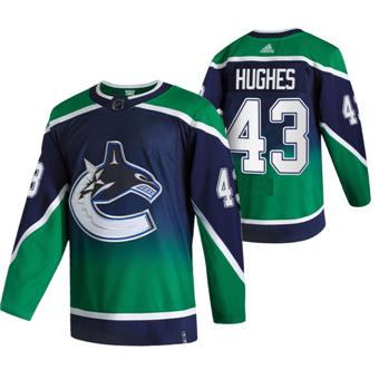 Men's Vancouver Canucks #43 Quinn Hughes Green 2020-21 Reverse Retro Alternate Hockey Jersey