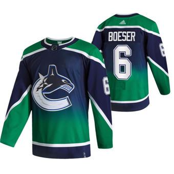 Men's Vancouver Canucks #6 Brock Boeser Green 2020-21 Reverse Retro Alternate Hockey Jersey