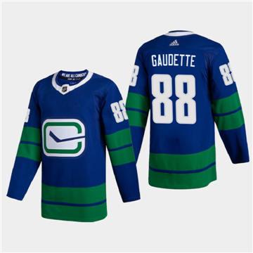 Men's Vancouver Canucks #88 Adam Gaudette 2020-21 Authentic Player Alternate Stitched Hockey Jersey Blue
