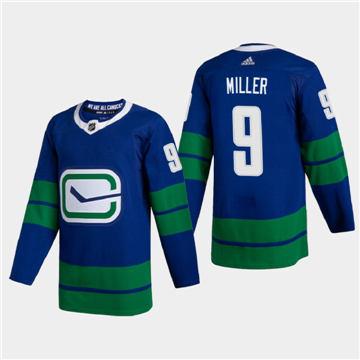 Men's Vancouver Canucks #9 JT Miller 2020-21 Authentic Player Alternate Stitched Hockey Jersey Blue