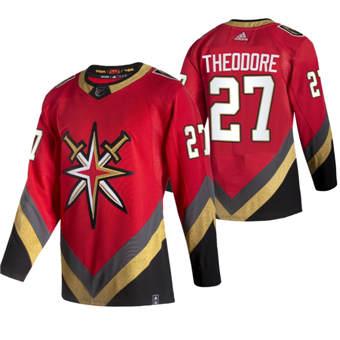 Men's Vegas Golden Knights #27 Shea Theodore Red 2020-21 Reverse Retro Alternate Hockey Jersey
