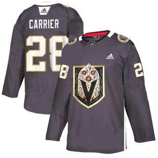 Men's Vegas Golden Knights #28 William Carrier Grey Latino Heritage Night Stitched Hockey Jersey