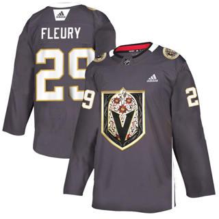 Men's Vegas Golden Knights #29 Marc-Andre Fleury Grey Latino Heritage Night Stitched Hockey Jersey