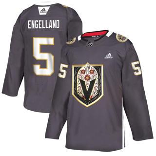 Men's Vegas Golden Knights #5 Deryk Engelland Grey Latino Heritage Night Stitched Hockey Jersey