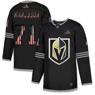Men's Vegas Golden Knights #71 William Karlsson Black USA Flag Limited Hockey Jersey