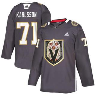 Men's Vegas Golden Knights #71 William Karlsson Grey Latino Heritage Night Stitched Hockey Jersey