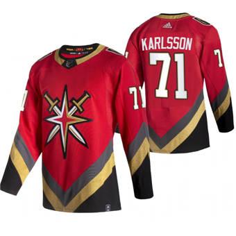 Men's Vegas Golden Knights #71 William Karlsson Red 2020-21 Reverse Retro Alternate Hockey Jersey