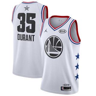 Men's Warriors #35 Kevin Durant White Basketball Jordan Swingman 2019 All-Star Game Jersey
