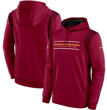 Men's Washington Football Team 2021 Burgundy Sideline Logo Performance Pullover Hoodie