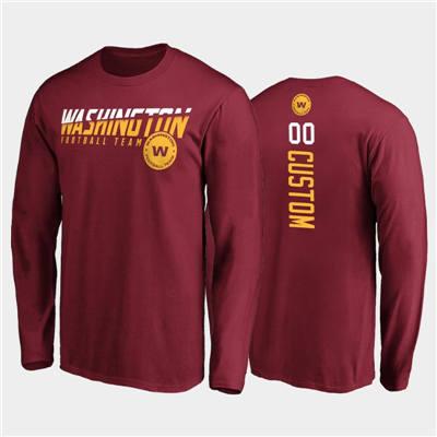 Men's Washington Football Team ACTIVE PLAYER Custom Burgundy 2020 Disrupt Mascot Long Sleeve T-Shirt