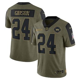 Men's Washington Football Team Antonio Gibson Football Olive 2021 Salute To Service Limited Player Jersey