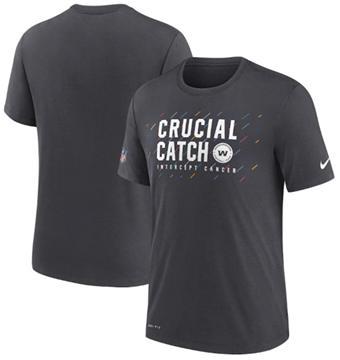 Men's Washington Football Team Charcoal 2021 Crucial Catch Performance T-Shirt