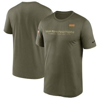 Men's Washington Football Team Football Olive 2021 Salute To Service Legend Performance T-Shirt