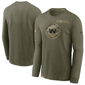Men's Washington Football Team Football Olive 2021 Salute To Service Performance Long Sleeve T-Shirt