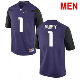 Men's Washington Huskies #1 Byron Murphy Purple Football Jersey