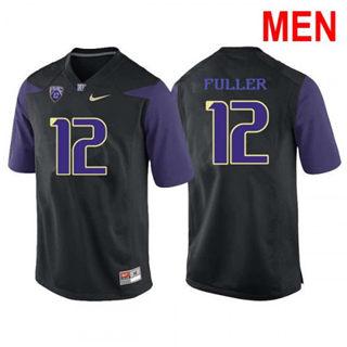 Men's Washington Huskies #12 Aaron Fuller Black Football Jersey