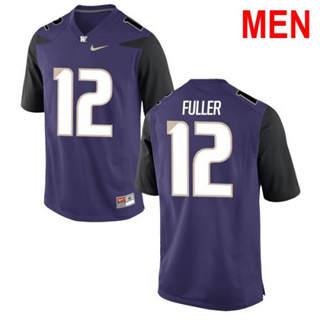 Men's Washington Huskies #12 Aaron Fuller Purple Football Jersey
