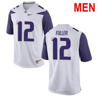 Men's Washington Huskies #12 Aaron Fuller White Football Jersey
