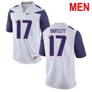 Men's Washington Huskies #17 Tevis Bartlett White Football Jersey