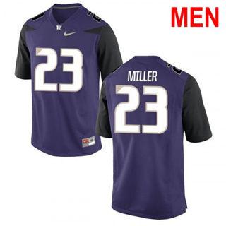 Men's Washington Huskies #23 Jordan Miller Purple Football Jersey